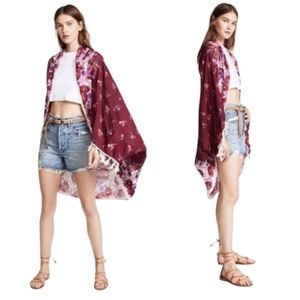Free People Bali Wrapped in Bloom Red combo Kimono